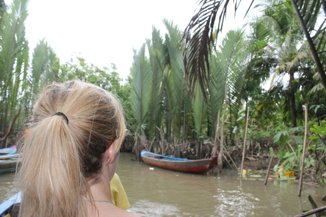 On a boat in the Mekong Delta.